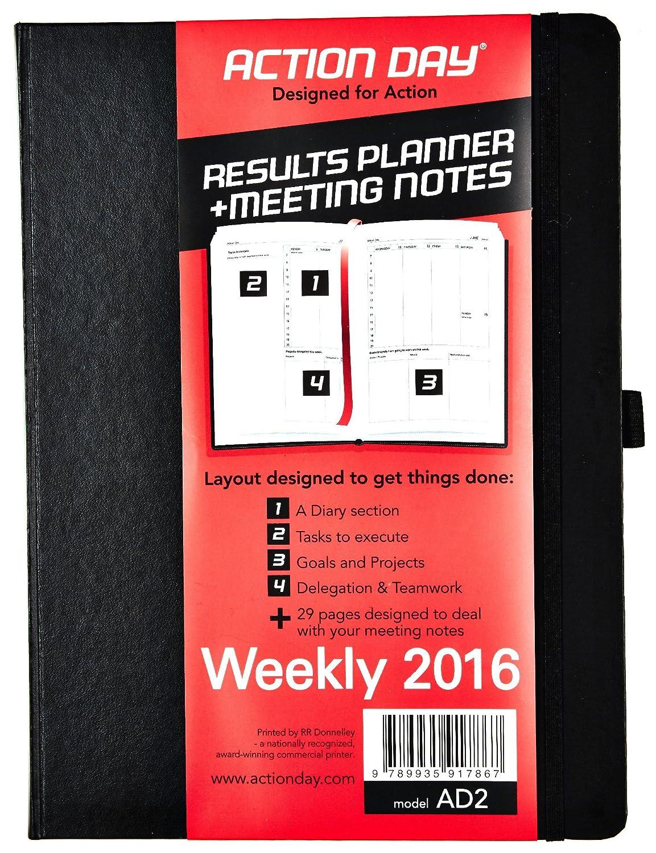 Action Day - Agenda organizadora semanal y diaria 2016, 20,3 x 27,9 cm, lista de cosas que hacer, calendario diario, planificador diario, diario ...