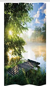 "Ambesonne Landscape Stall Shower Curtain, Fishing Pier by River in The Morning with Clouds and Trees Nature Image, Fabric Bathroom Decor Set with Hooks, 36"" X 72"", Green Blue White"