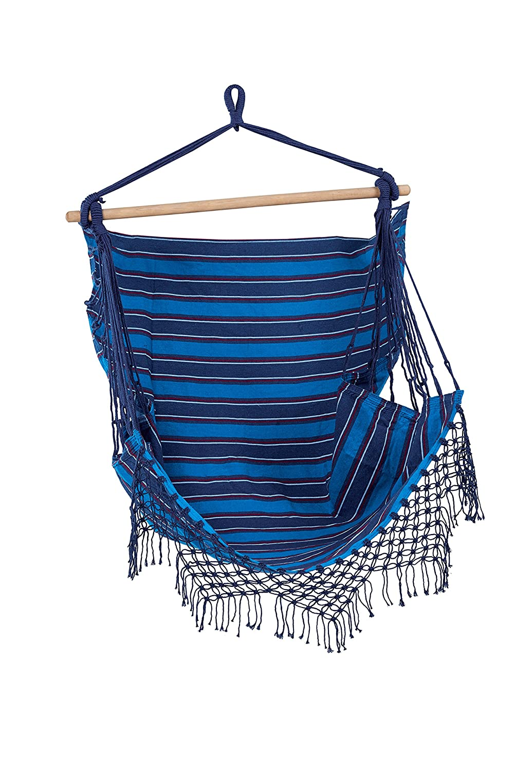 Sedia Amaca Deluxe Brazilian - Amaca a poltrona sedia sospesa con supporto - Deluxe Brazilian Hammock Chair FHB-BCH-B 145x120x100cm 2.02kg weight rating 110kg Durable, soft-touch 100% Cotton blend fabric.Swing chair, swinging chair, hanging chair. Solid ti