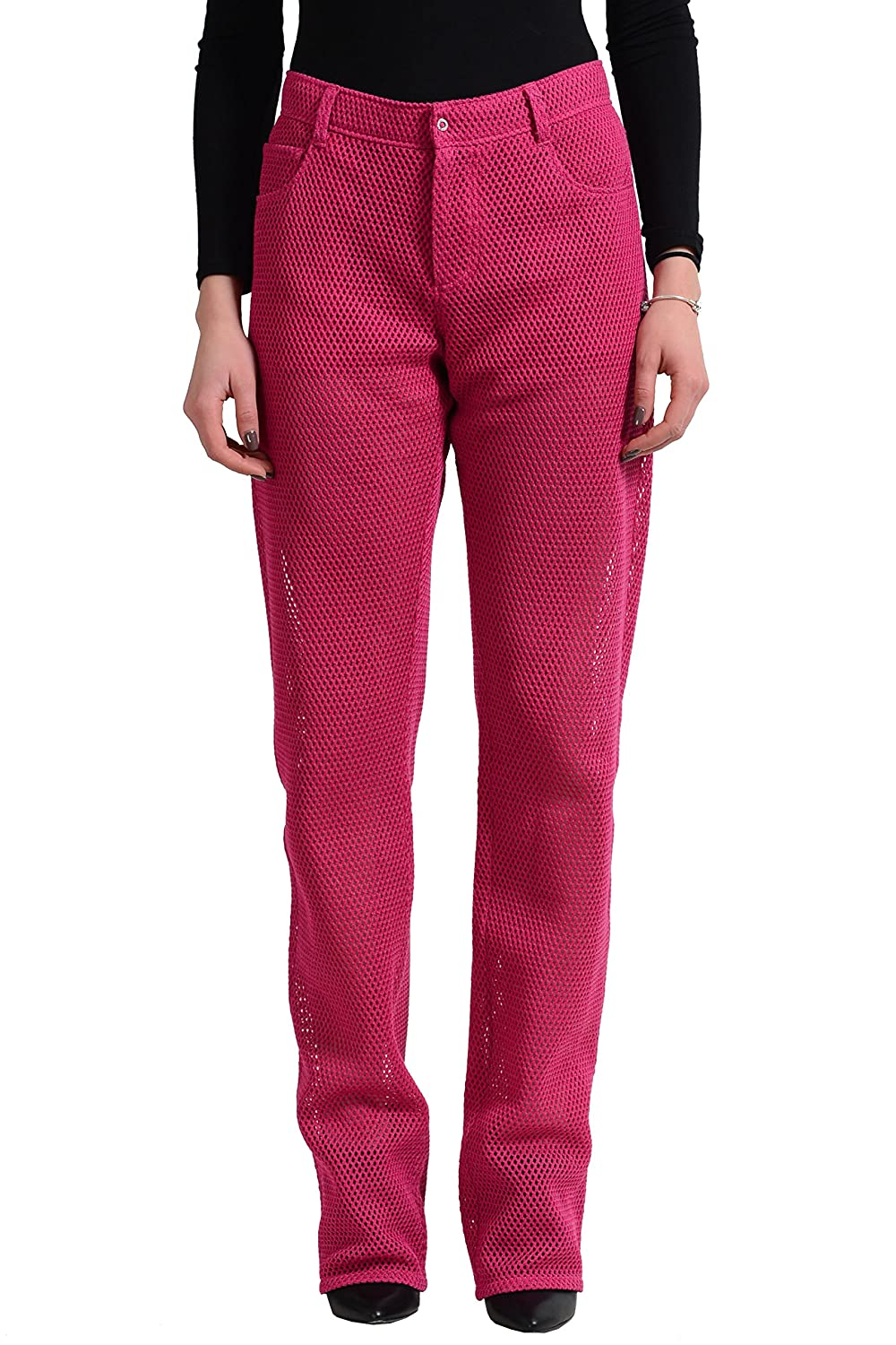 Versace Versus Women's Raspberry See Through Straight Leg Jeans US 2 IT 38