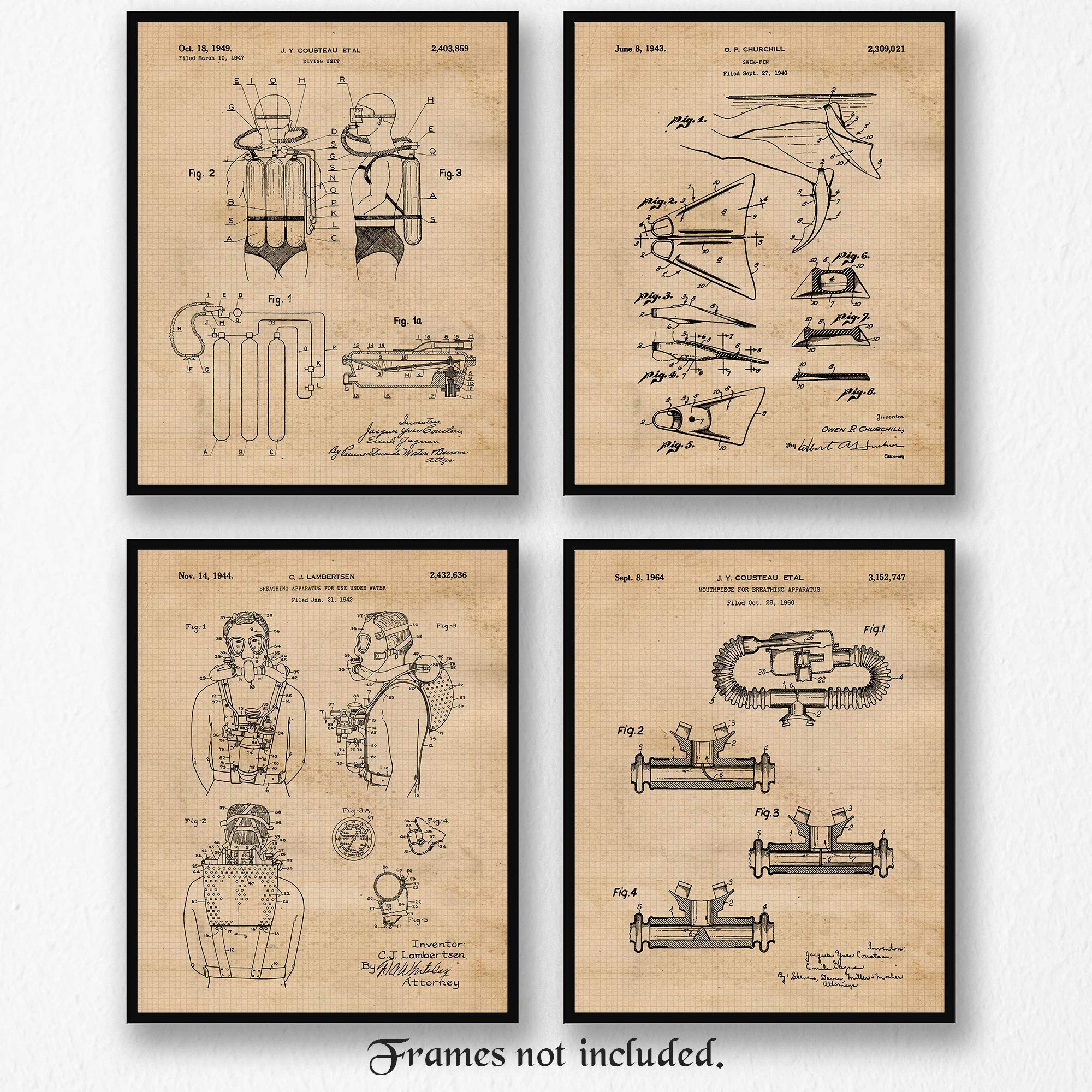 Original Scuba Patent Art Poster Prints, Set of 4 (8x10) Unframed Photos, Great Wall Art Decor Gifts Under 20 for Home, Office, Garage, Shop, Man Cave, Student Diver, Teacher, Coach, Diving Fan by Stars by Nature