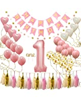 """First Birthday Decorations for Girl   1st Baby Girl Number 1 Balloon, Happy Birthday Banner, """"One"""" Cake Topper, Star Garland, Marble Pink, Gold Confetti, Heart Balloons, Paper Tassels   PartyHooman"""