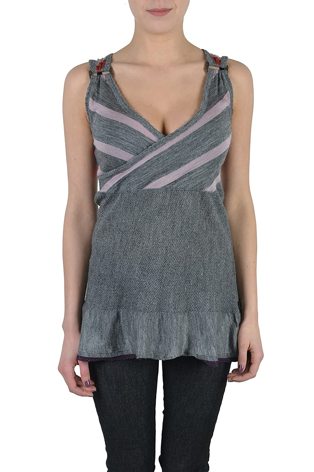 Just Cavalli Wool Alpaca Multi-Color Striped Wrapped Women's Tank Top US M IT 42
