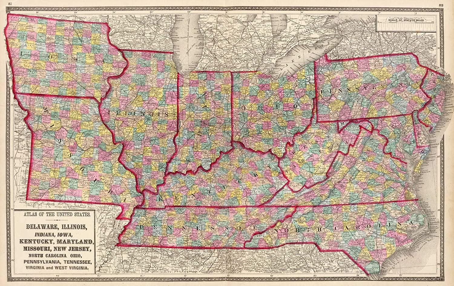 Amazon.com: Historic Map   Delaware, Illinois, Indiana, Iowa ... on map of illinois cities, map of west virginia and tennessee, map of iowa freedom rock in the tour, map of iowa small towns, iowa state map illinois, map of bridges of madison county iowa, map of iowa online, map of quad cities and surrounding area, map of dubuque iowa, map of church camps in illinois, big map of illinois, map of iowa casinos, street map clinton illinois, map of quincy illinois, map of iowa print, map of missouri, map of the state of iowa, oakland city hall illinois, map of minnesota iowa border, map of iowa counties,
