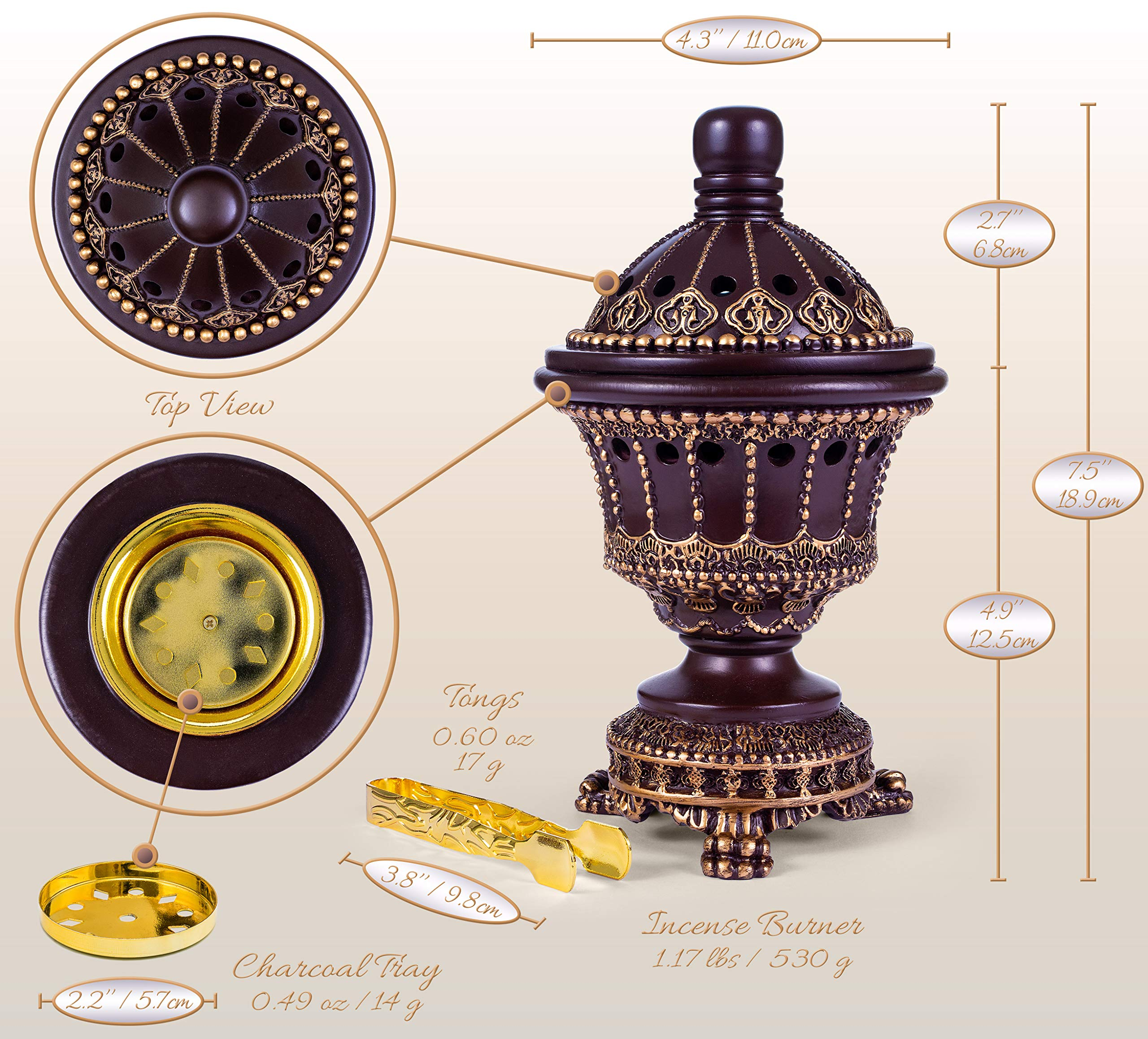 Incense Burner Bakhoor Burner (Chalice, Brown) by AM (Image #3)