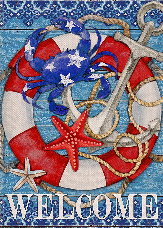 Furiaz Welcome Garden Flag, House Yard Lawn Summer Nautical Decorative Small Flag Crab Anchor Lifebuoy Home Outside Decorations, Sea Coastal Beach Ocean Farmhouse Outdoor Decor Flag Double Sided 12x18