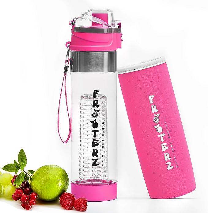 LFBG Botella deportiva certificada de tritano de ca/ño seguro con correa Botella para infusionar fruta de 700/ml con funda t/érmica,/sin BPA