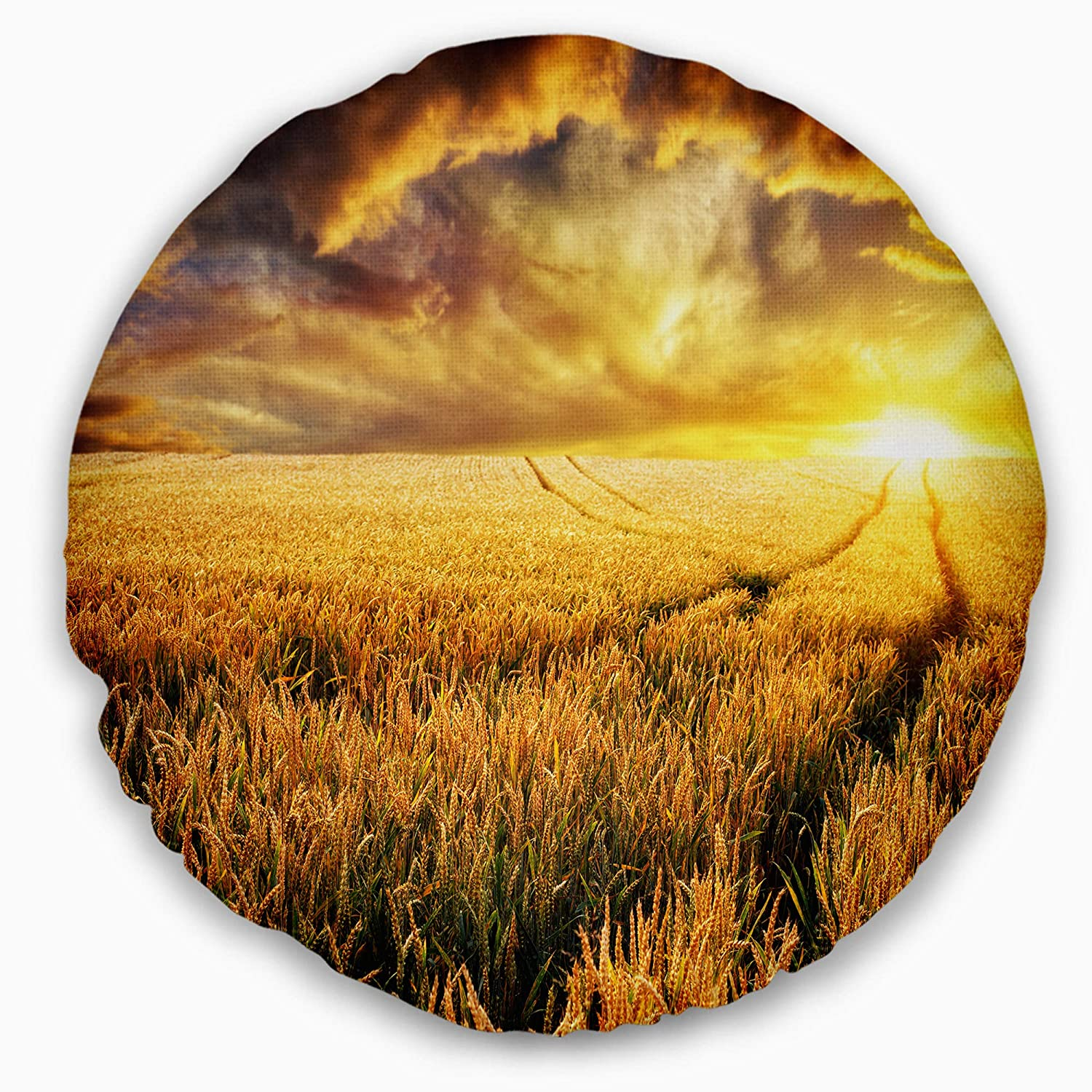 Designart CU14565-20-20-C Amazing Sunset Over Yellow Field' Landscape Printed Round Cushion Cover for Living Room, Sofa Throw Pillow 20'