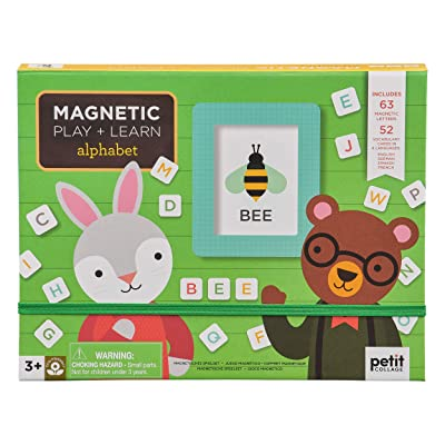 Petit Collage Magnetic Play Scene, Numbers + Letters in 4 Languages, Ages 3+, Green: Toys & Games