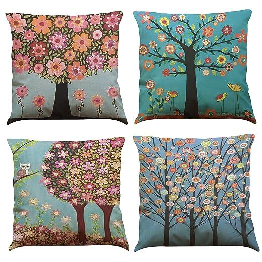 MStar 4 pieza Multicolor Árboles Impreso costura almohada 45 ...