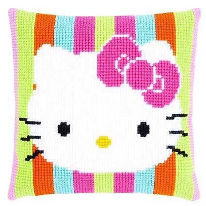 Amazon.com: Impreso Cojín de punto de cruz: Hello Kitty ...