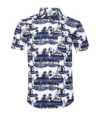 dd6b828c NUTEXROL Men's Flower Casual Button Down Short Sleeve Casual Aloha Hawaiian  ShirtBlue&White ...