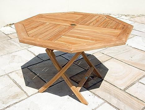 Durable Furniture Table octogonale Pliante en Teck Marron 1 ...