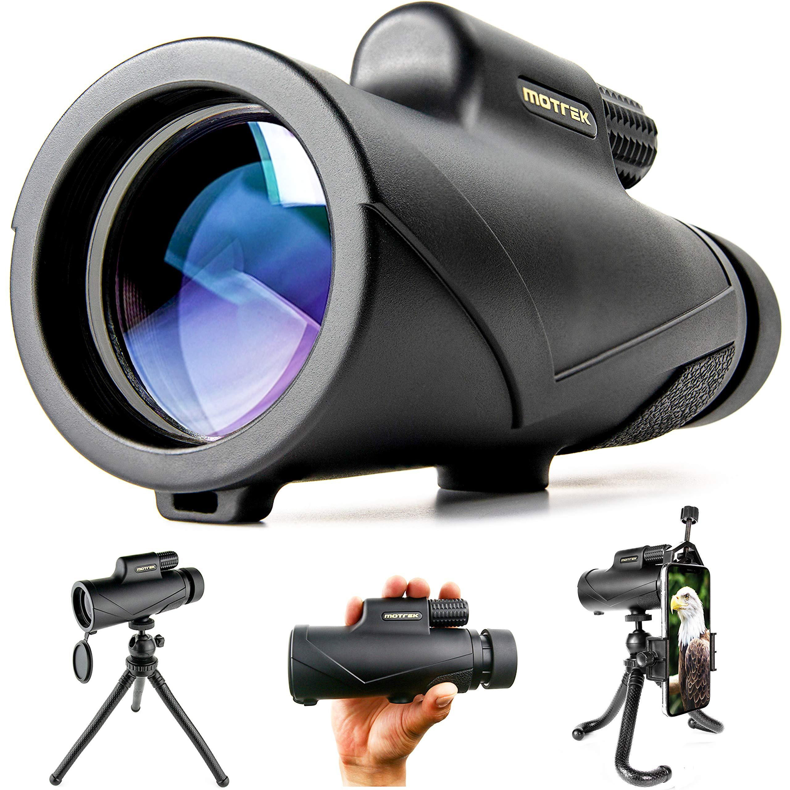 Monocular Telescope- 8x42 High Power HD with Smartphone Holder & Flexible Tripod- Waterproof FMC BAK4 Prism for Bird Watching, Camping, Hiking, Hunting- Adults & Kids- MOTREK by MOTREK