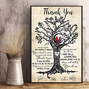 """VinMea Wrapped Framed Cardinal Thank You Led Zeppelin Cardinal, Signs for Home, Wrapped Canvas Art Printing Home Decor in Office Bedroom Living Room 12"""" X 16"""" Ready to Hang"""