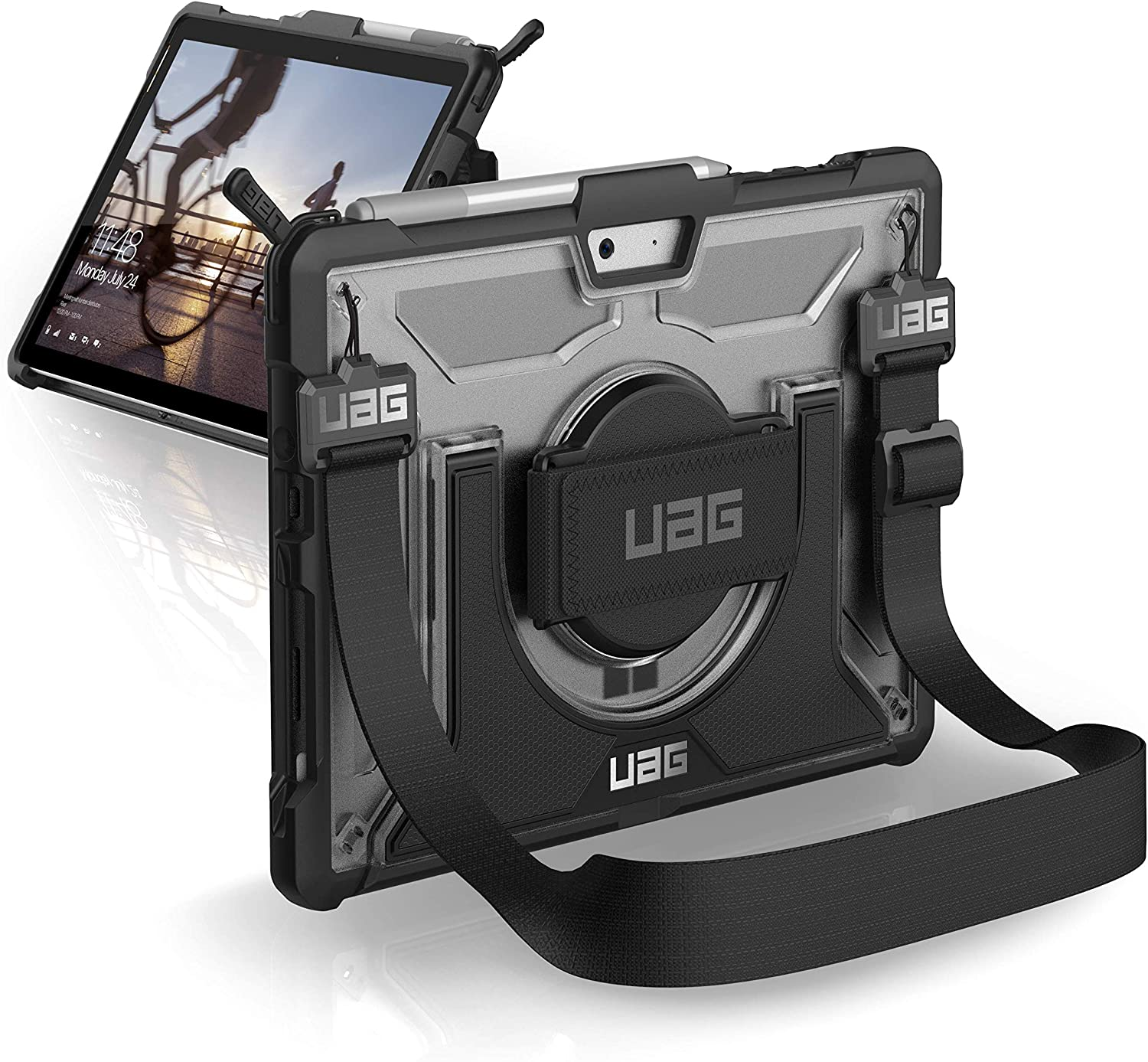 UAG Microsoft Surface Go 2 / Surface Go with Hand Strap & Shoulder Strap Plasma Feather-Light Rugged [Ice] Military Drop Tested Case