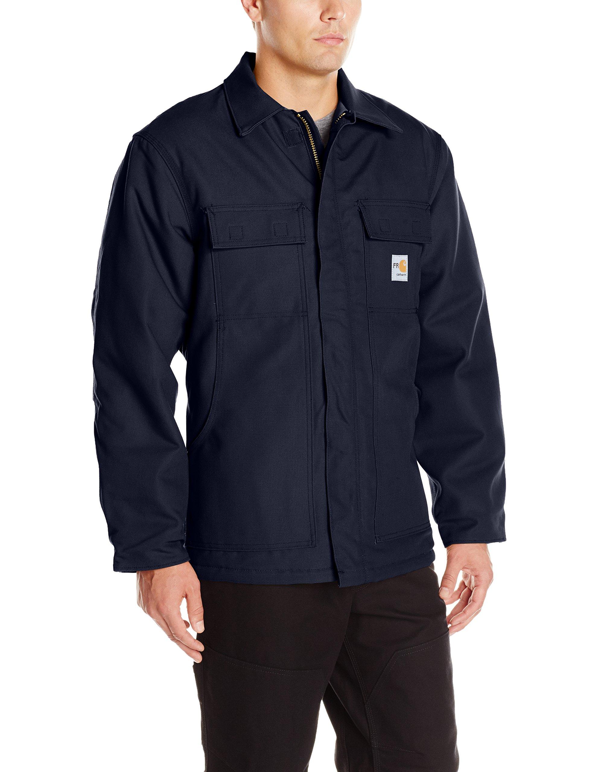 Carhartt Men's Flame Resistant Duck Traditional Coat, Dark Navy, Medium