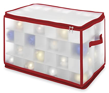 Delicieux Whitmor Christmas Large Ornament Storage Zip Chest With 112 Compartments