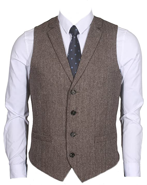 1920s Men's Costumes: Gatsby, Gangster, Peaky Blinders, Mobster, Mafia 4Buttons Wool Herringbone/Tweed Tailored Collar Suit Vest $39.00 AT vintagedancer.com