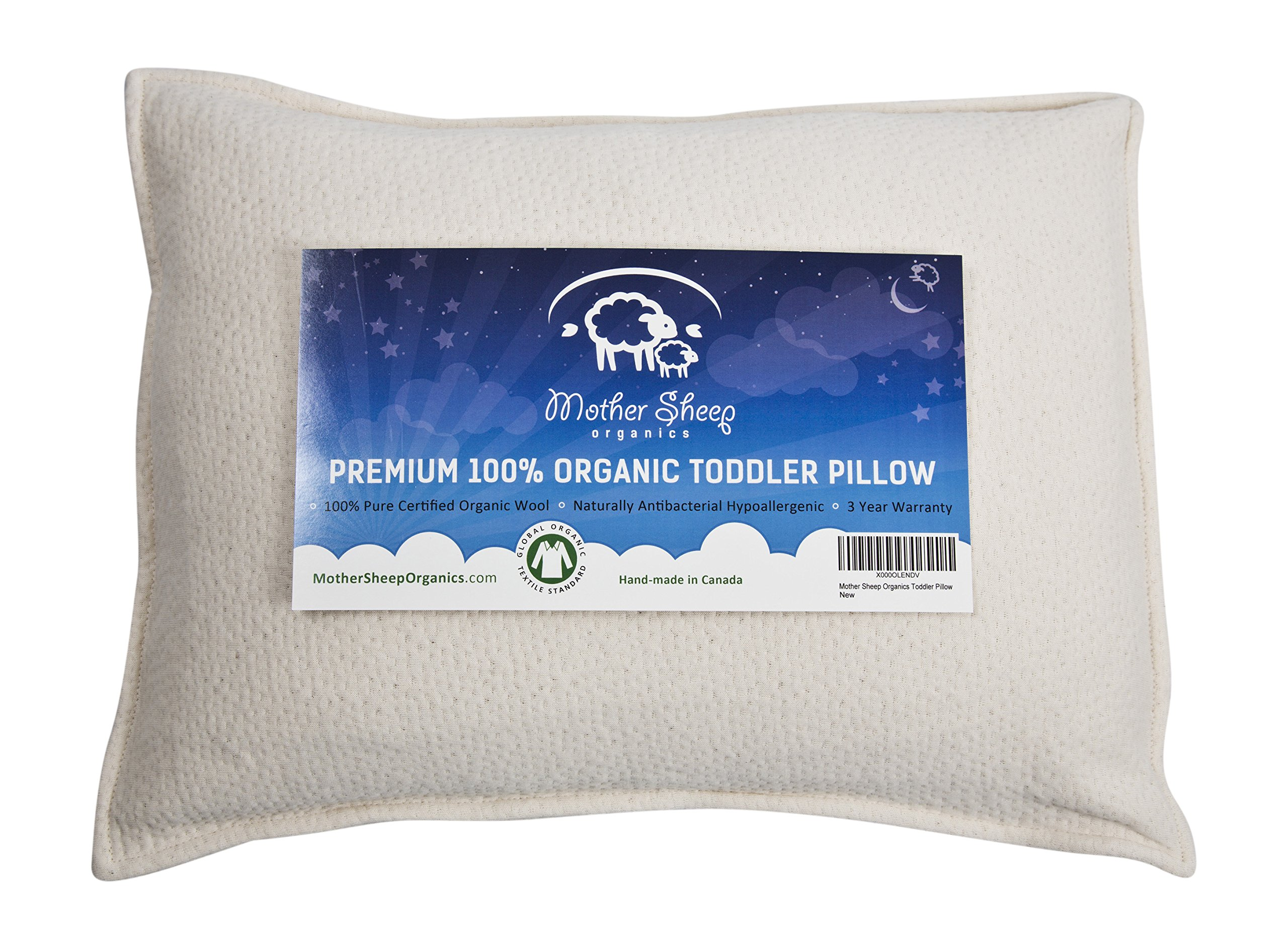 Organic Wool Toddler Pillow, All Natural &100% GOTS Certified Pure Organic, Wool 'Pearls' Filling, Natural Antibacterial & Hypoallergenic, 14x19, Best First Pillow for Toddlers &Kids