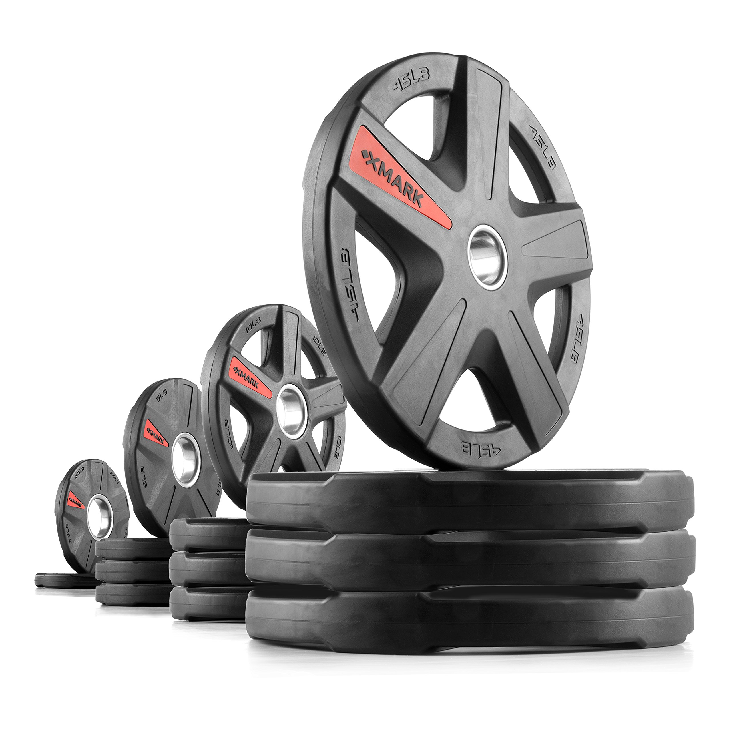 XMark Texas Star 315 lb Set Olympic Plates, Patented Design, One-Year Warranty, Olympic Weight Plates