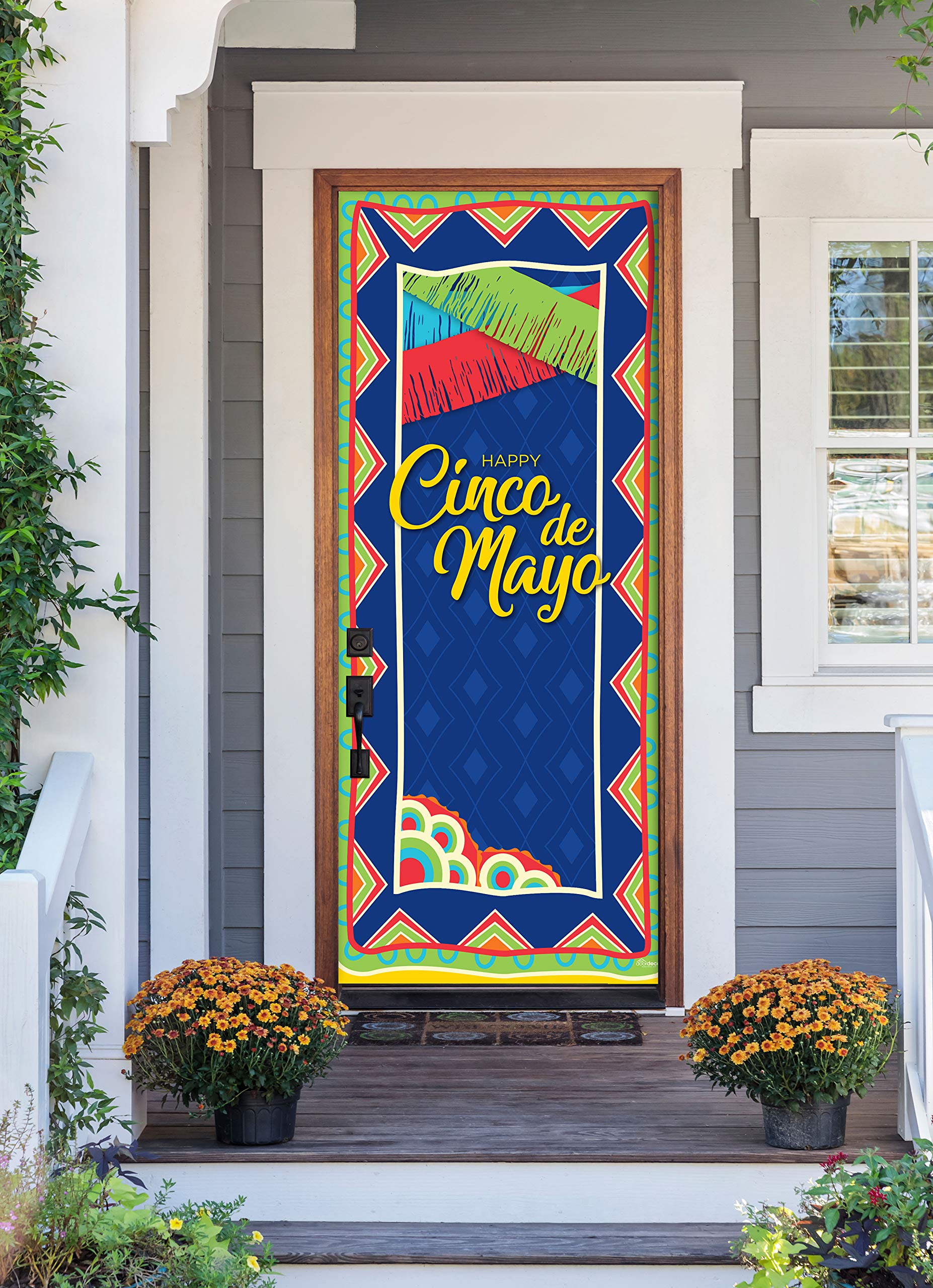 Victory Corps Happy Cinco de Mayo Pattern - Holiday Front Door Banner Mural Sign Décor 36'' x 80'' Front Door - The Original Holiday Front Door Banner Decor