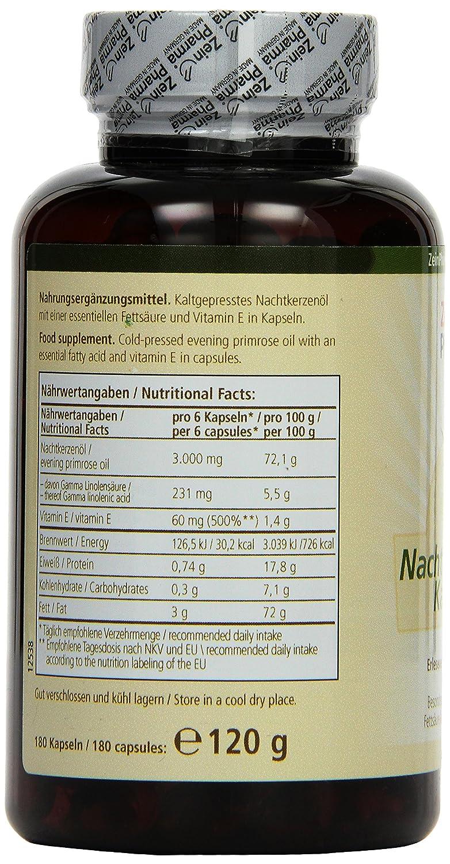 Cápsulas de Aceite de Onagra 500mg de ZeinPharma • 180 cápsulas (un mes de suministro) • sin gluten, vegano, kosher y halal • Hecho en Alemania: Amazon.es: ...