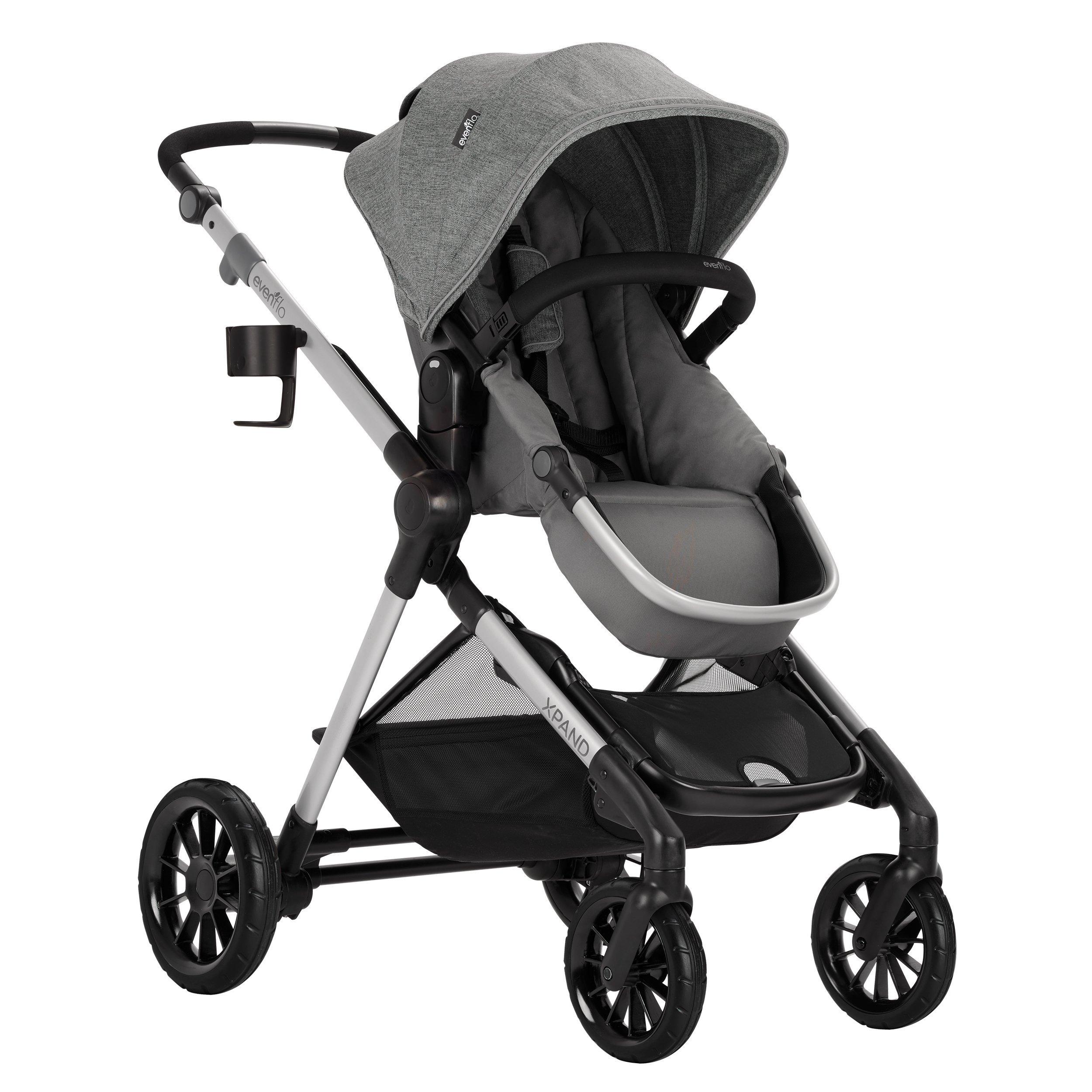 Evenflo Pivot Xpand Modular Stroller, Baby Stroller, Converts to Double Stroller, 4 Modes, Durable Construction, Extra-Large Storage Basket, Compact Folding Design, 55-lb Capacity, Percheron Gray by Evenflo