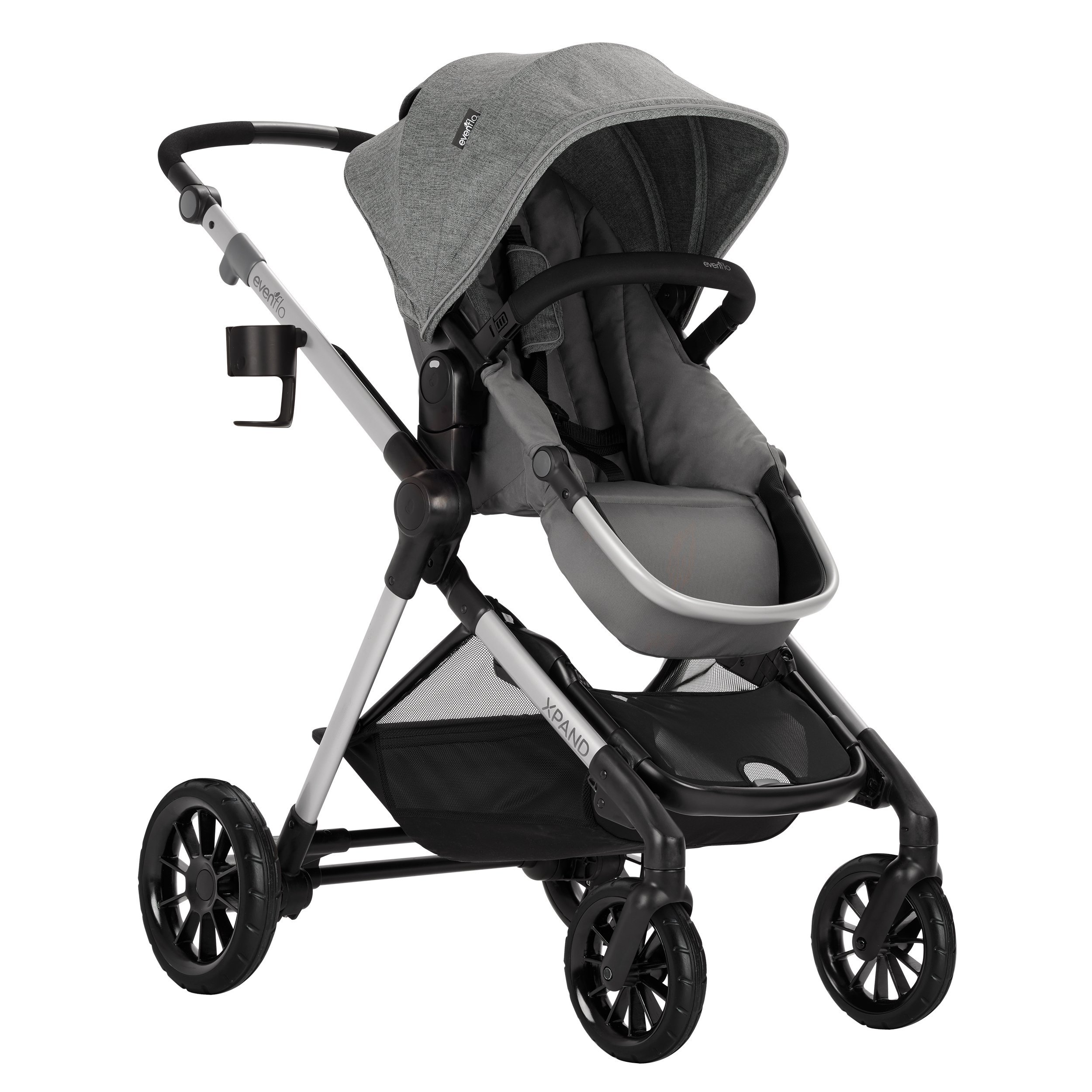 Evenflo Pivot Xpand Modular Stroller, Baby Stroller, Converts to Double Stroller, 4 Modes, Durable Construction, Extra-Large Storage Basket, Compact Folding Design, 55-lb Capacity, Percheron Gray