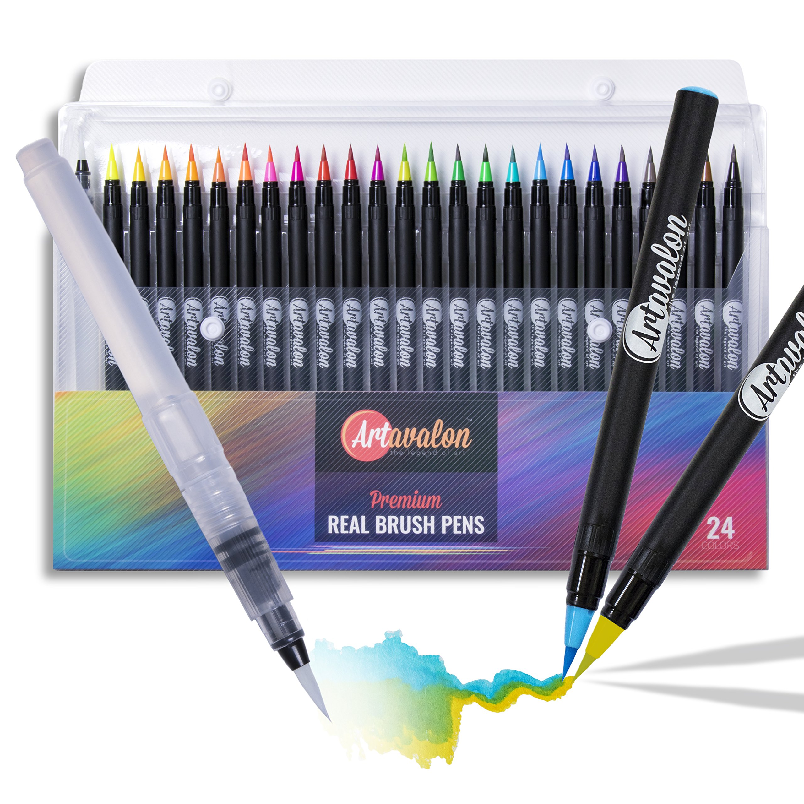 Watercolor Brush Pens - 24 Colors + 1 Refillable Pen - Flexible Tip + NonToxic • [Water Color Paint Markers Set for Artists/Adults/Kids, Real Art Coloring, Calligraphy Drawing, Paintbrush]