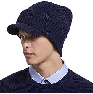 RIONA Men s Soild 100% Australian Merino Wool Knit Visor Beanie Hat Visor  Warm Skull Caps 337898e7d814
