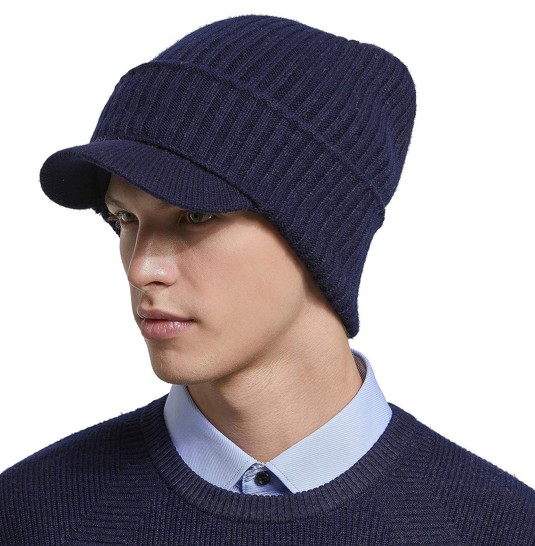 RIONA 100% Australische Merino Wolle Wintermütze Visor Beanie Cap Mütze mit Schirm Strickmütze Warme Herren & Damen RIM9219-Wine