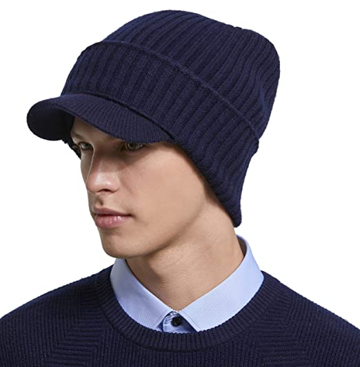 RIONA Berretto Uomo in Maglia per Inverno Caldo Cappello Beanie Berretto  Cappello Invernale con Visiera da Uomo 100% Lana Merino  Amazon.it   Abbigliamento a332ba550710
