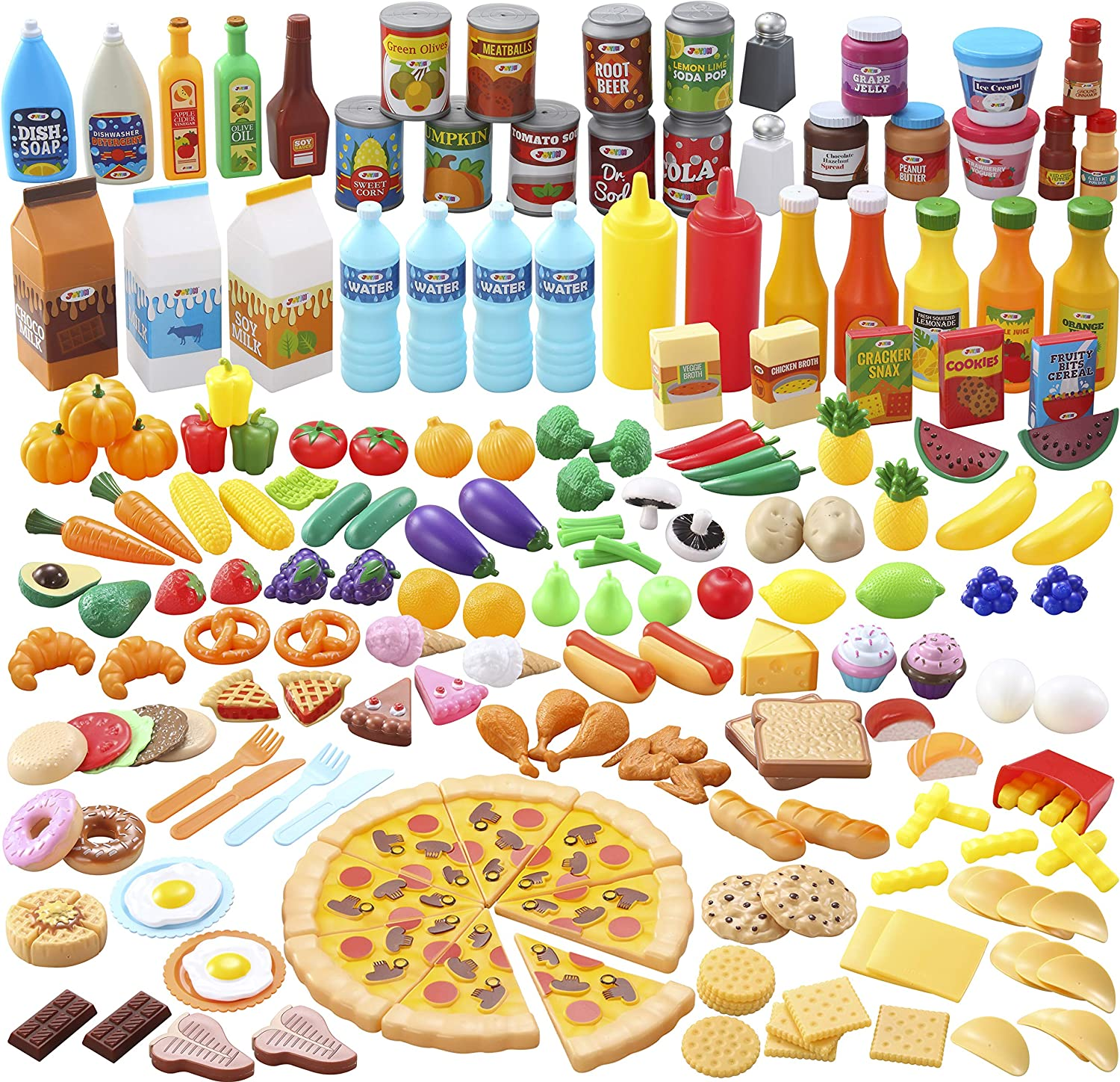 JOYIN Play Food Set 200 PCS Pretend Play Food with Dishes, Knife and Fork for Toddler Boys and Girls Toys