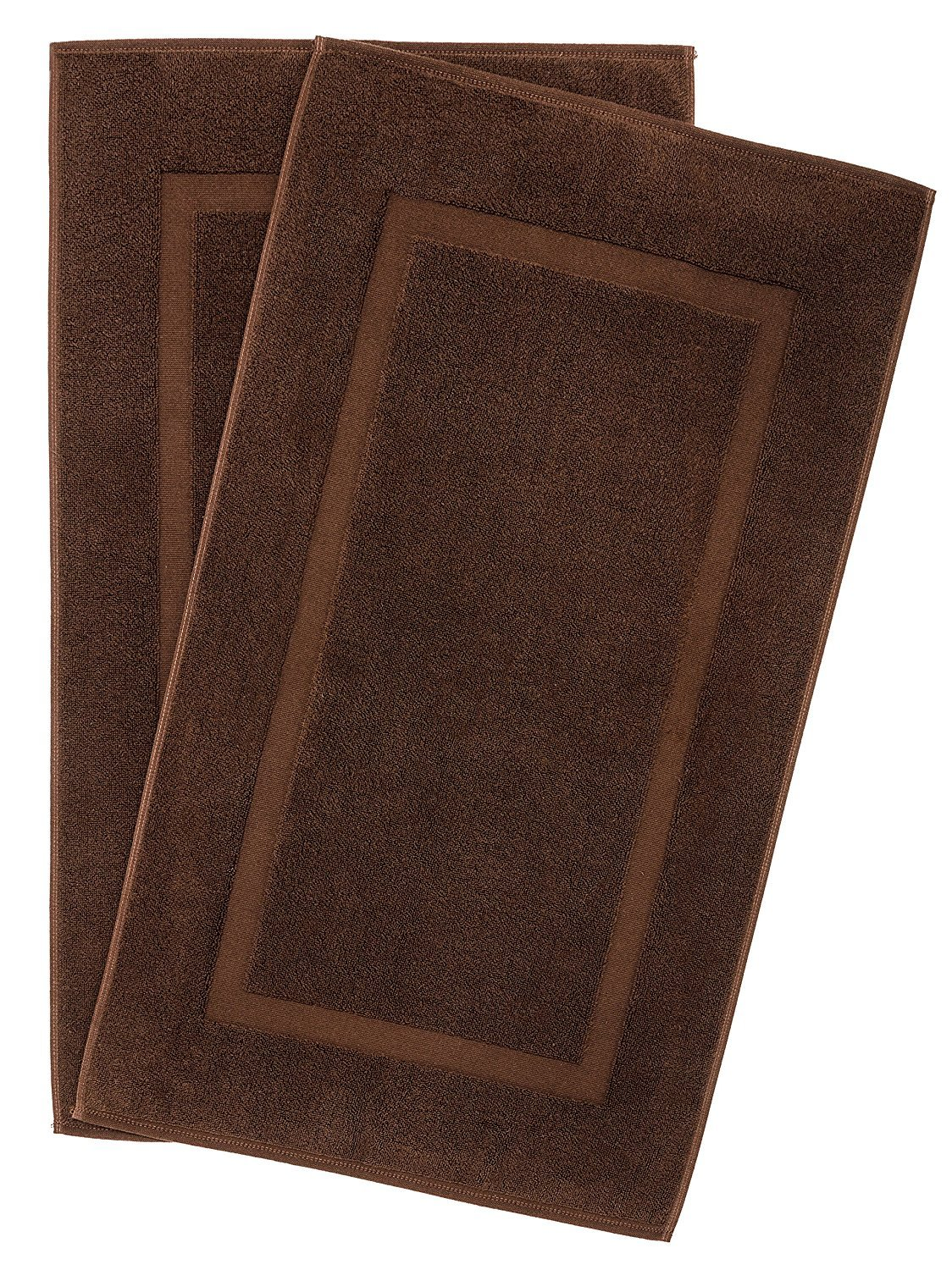 900 GSM Machine Washable 21x34 Inches 2-Pack Banded Bath Mats, Luxury Hotel and Spa Quality, 100% Ring Spun Genuine Cotton, Maximum Softness and Absorbency by United Home Textile, Chocolate Brown