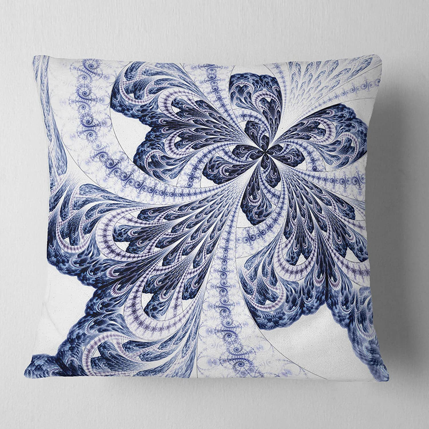 Insert Printed On Both Side x 18 in Sofa Throw Pillow 18 in in Designart CU12051-18-18 Symmetrical Tight Blue Fractal Flower Floral Cushion Cover for Living Room