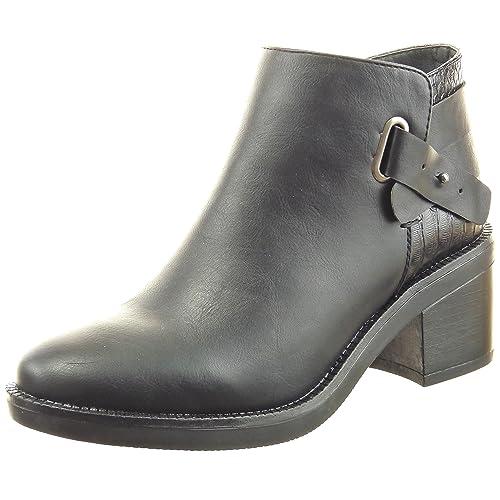 Sopily - Zapatillas de Moda Botines low boots cavalier Tobillo mujer piel de serpiente multi-