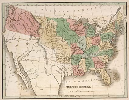 Vintage Map Of The United States.Amazon Com World Atlas Map United States 1838 Historic Antique