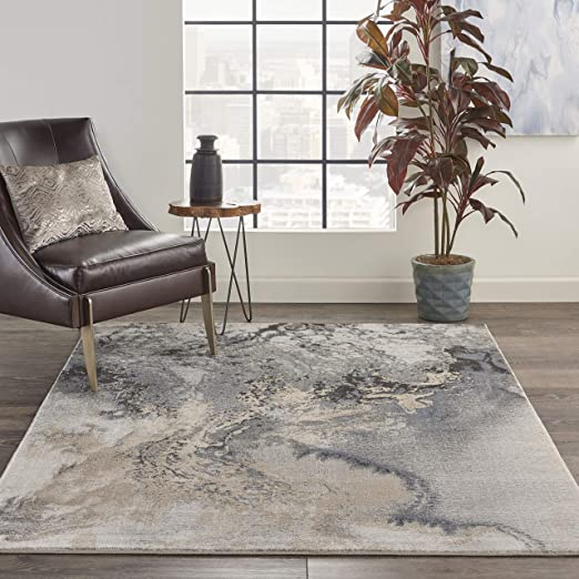 Nourison Maxell Modern Contemporary Grey Polyester Area Rug 5 Feet 3 Inches  by 7 Feet 3 Inches, 5\'3\