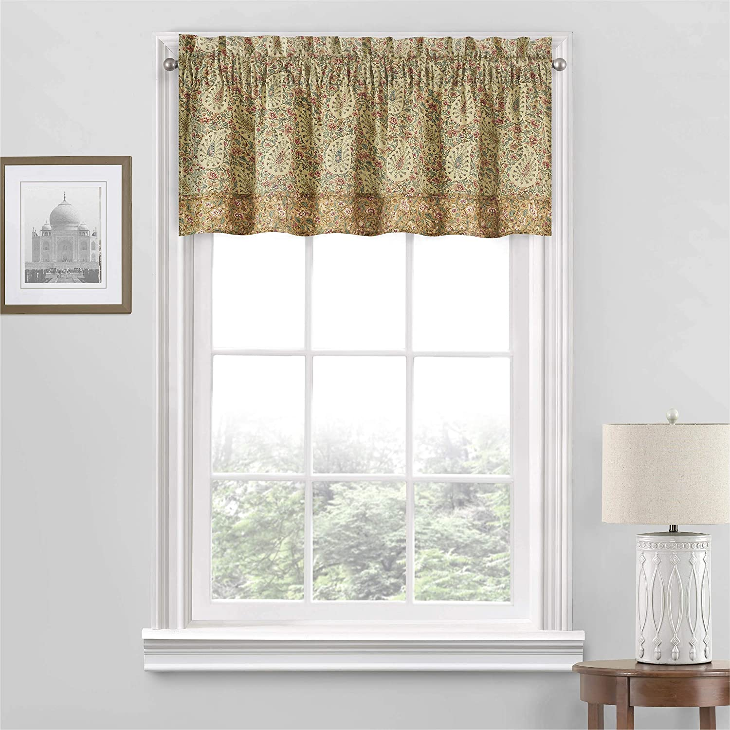 Waverly Paisley Verveine Short Valance Small Window Curtains Bathroom, Living Room and Kitchens, 52