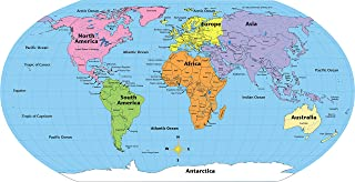 """product image for 8"""" x 16"""" Labeled World Practice Maps, 30 Sheets in a Pack for Social Studies, Geography, Map Activities, Drill and Practice, Current Event Activities, Learning Games and More"""
