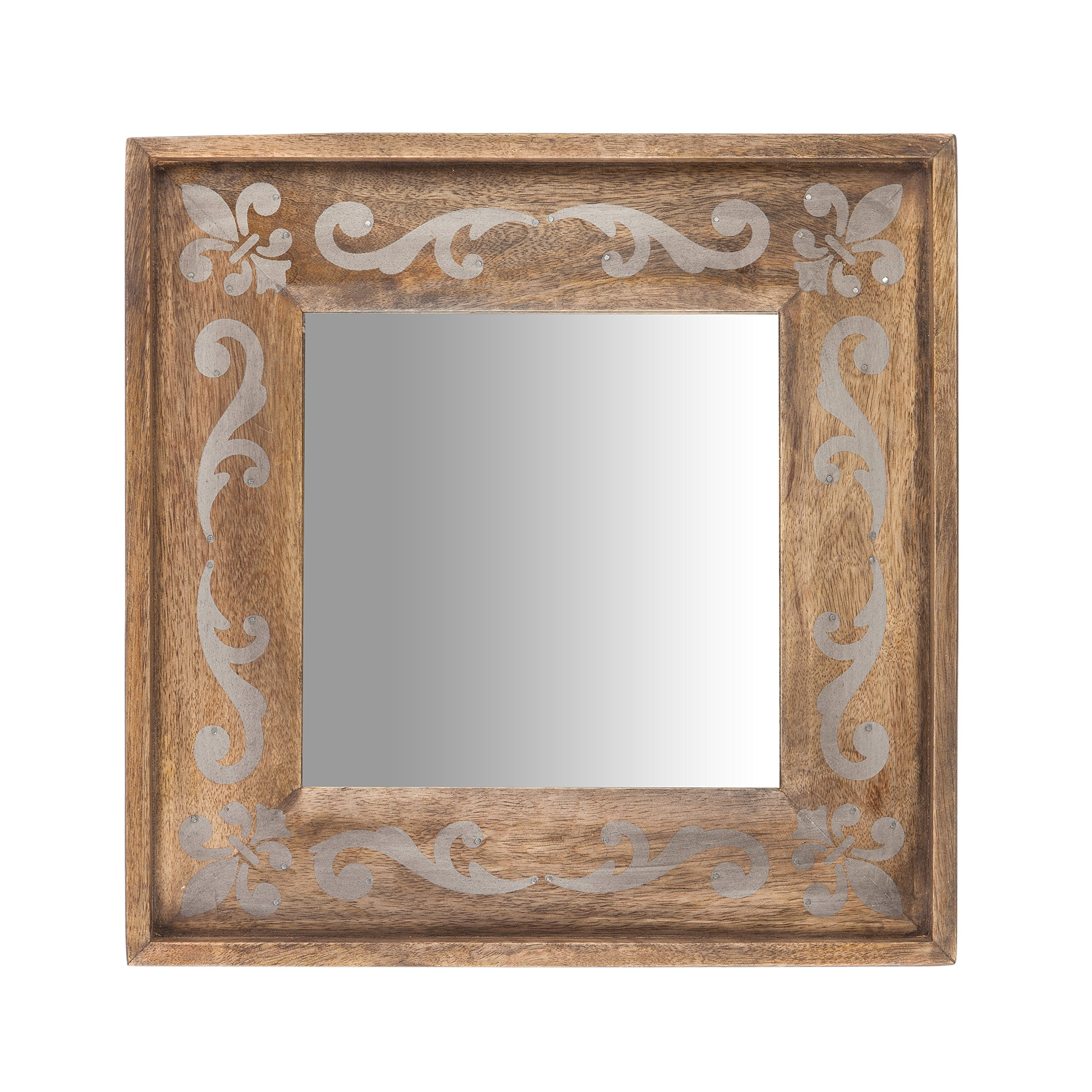 The Gerson Company 93527 14''X14'' Meadowlark Home Collection Hand Made Mango Wood Fleur DIS Lis Pattern Mirror