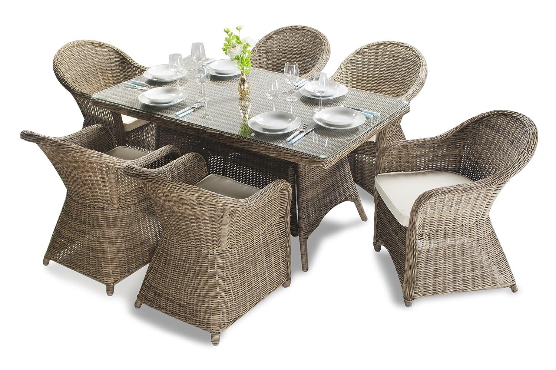 Asha Purley Rattan Garten-Sitzgruppe mit Kissen für 6 Personen