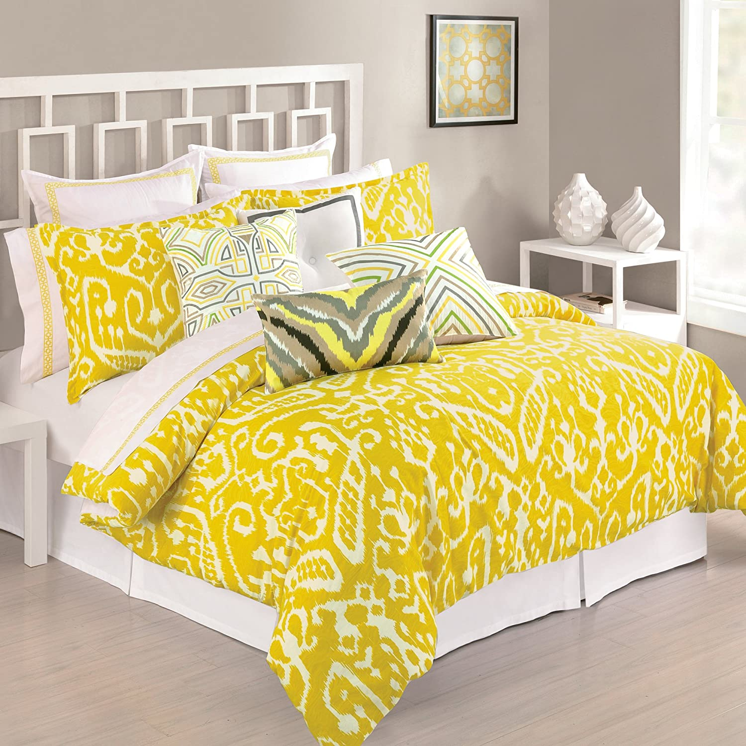 Amazoncom Trina Turk Piece Ikat Comforter Set King Yellow - Blue and yellow comforter sets king