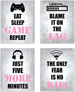Video Game Girls Themed Gamer Wall Art Posters Home Decor Black, White, Grey and Pink Gaming Bedroom Pictures Prints Decorations for Teen Dorm College Playrooom Gameroom Women Children Kids –8 x 10