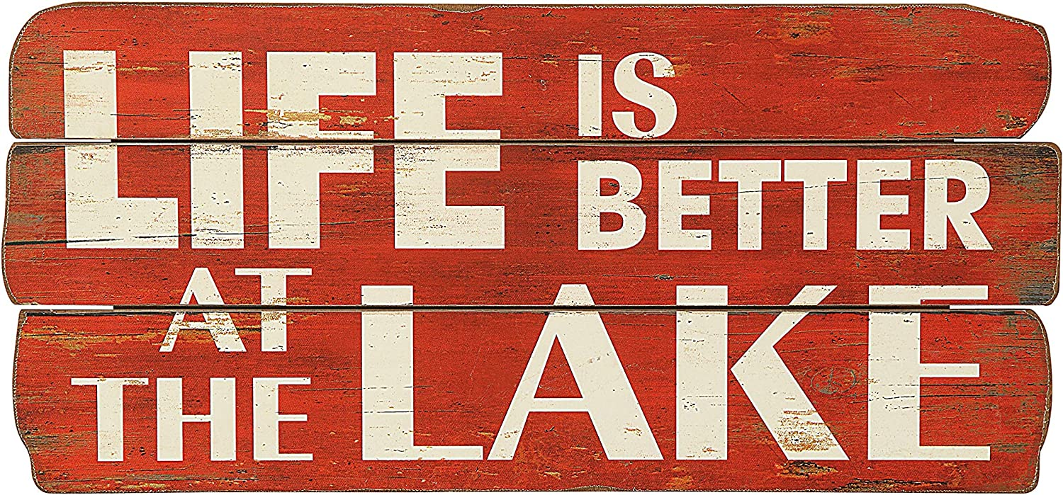 "Creative Co-op ""Life is Better at The Lake Red & White Distressed Wood Wall Décor"