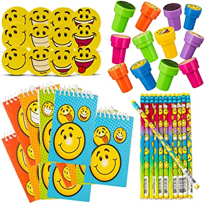 Favonir Happy Themed Set Of Party Favors With Smile Designs For Kids - 48-Piece Bulk Smiley Stationery Set - Erasers, Pencils, Stampers & Notebooks - Top Goodie Bag Fillers, Birthday Party Favor & Classroom Reward Set: Toys & [5Bkhe0506672]