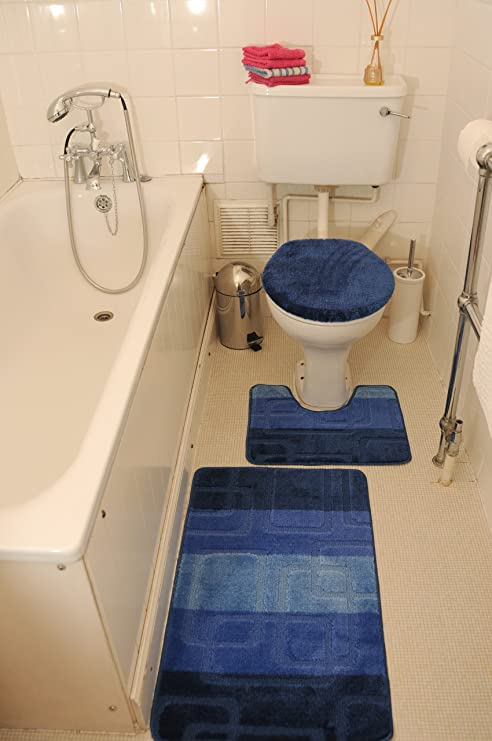 Blue Bath Mat Set Bath Mat Pedestal Mat Toilet Seat Cover 3
