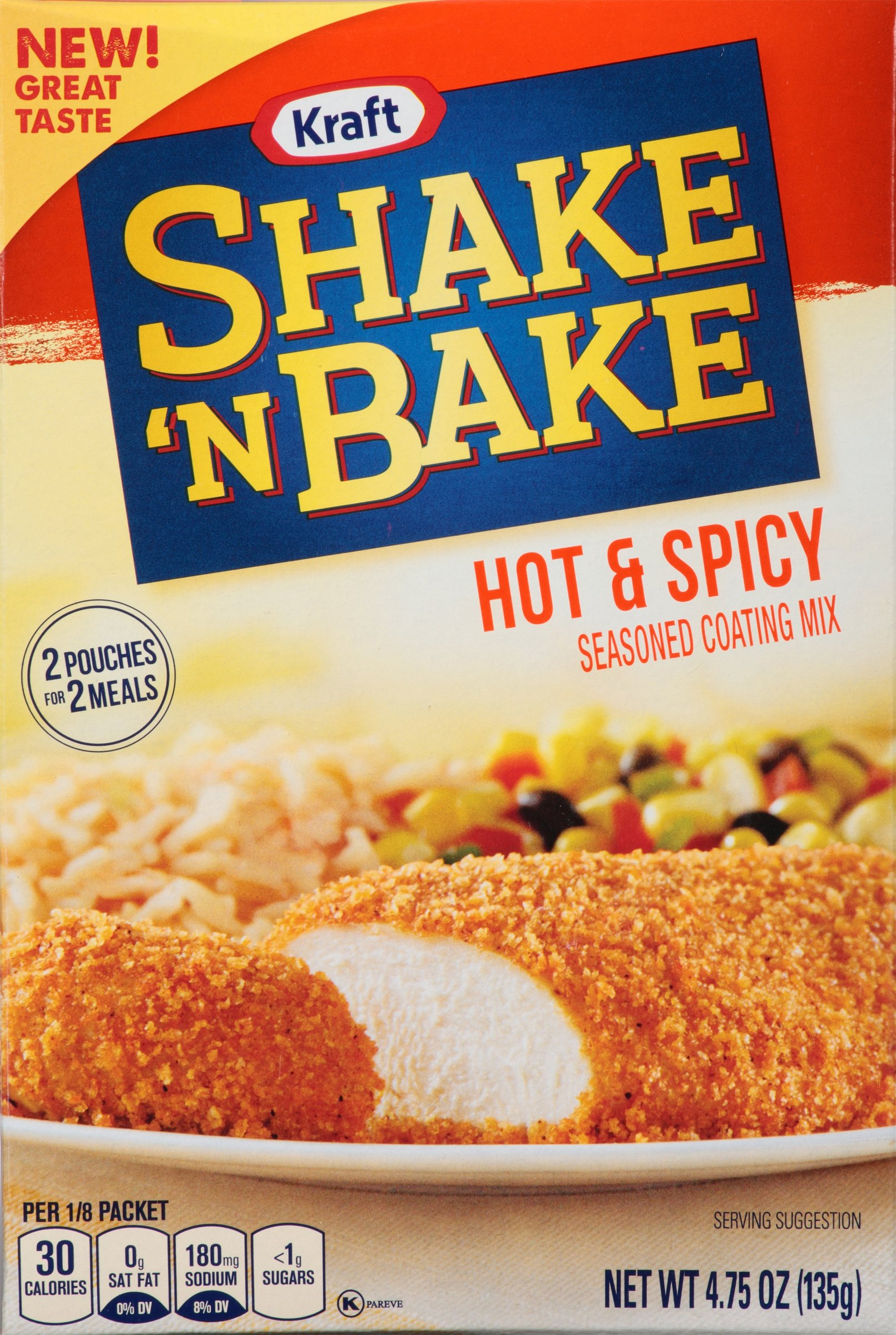 Kraft Shake N Bake Seasoned Coating Mix Box, Hot and Spicy, 4.75 Ounce (Pack of 8)