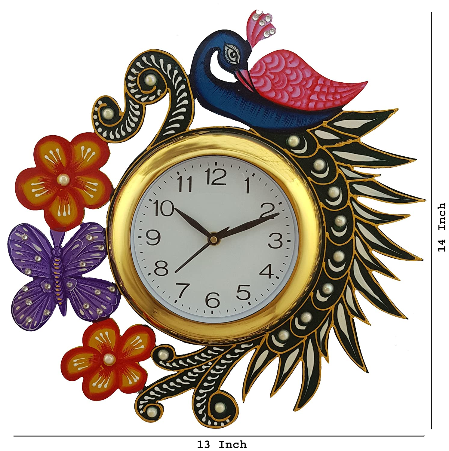 Buy peacock wall clock online at low prices in india amazon amipublicfo Images